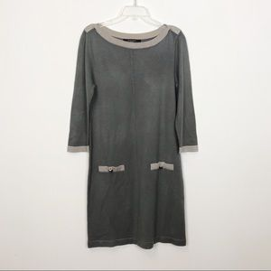 Nine West Sweater Dress Gray Sparkly Trim Medium